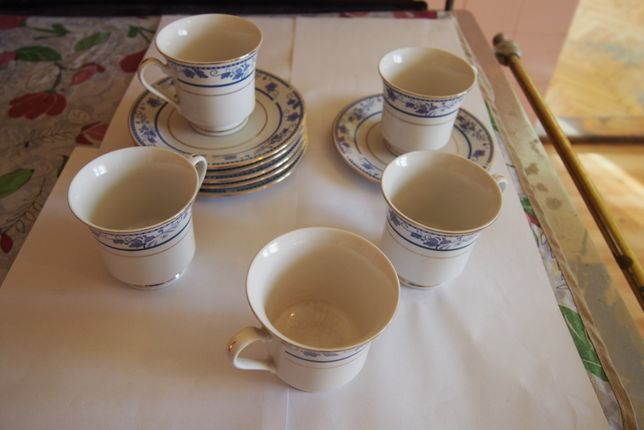 Porcelana Elegance collection filiżanki + talerzyki, 5 sztuk