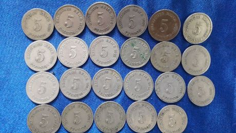 Monety 5 Pfennig Cesarstwo Niemcy Lata 1889 r.- 1914r. Szt. 23