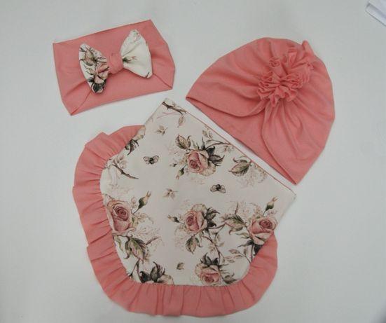Komplety wiosenne czapka turban chusta komin handmade