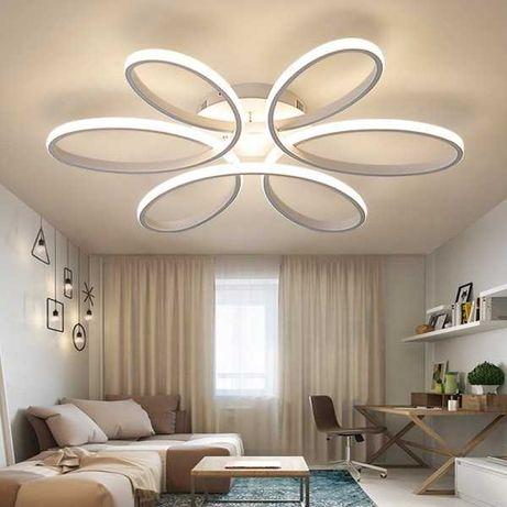 Plafon LED lampa sufitowa, sterowana pilotem kolor biały lub kawowy