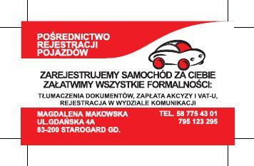Rejestracja pojazdów, biuro tłumaczeń, ubezpieczenia Starogard Gdański - image 1