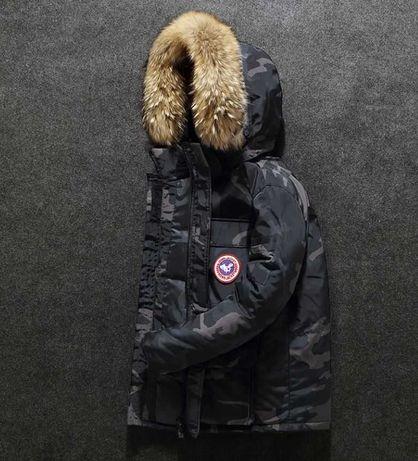 Мужской зимний камуфляжный пуховик куртка с опушкой. Размеры 46 - 52