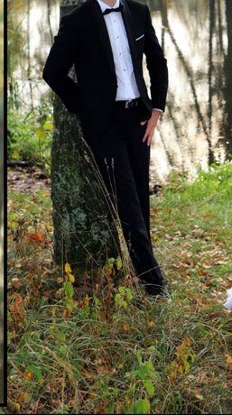 garnitur smokingowy ślubny czarny