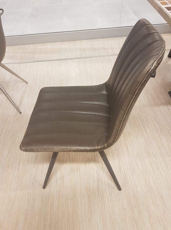 Krzesło ekoskóra brąz