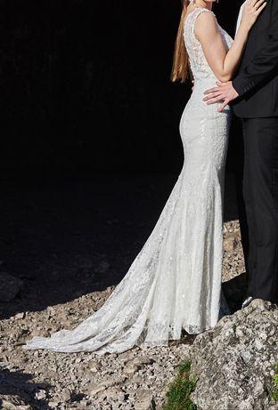 Suknia ślubna dopasowana syrenka 174cm rozmiar 36