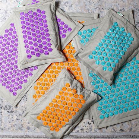 Экомат. Акупунктурный массажный коврик, игольчатая подушка с лотосами.