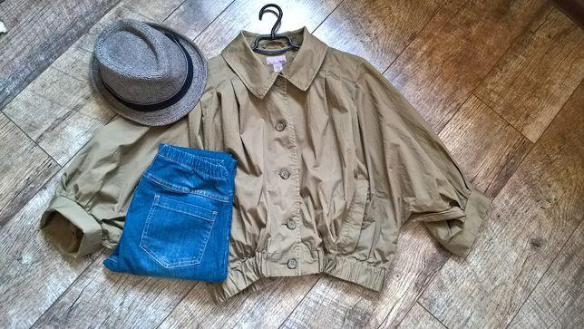 Мега трендовая объемная куртка-ветровка летний пуффер от H&M хаки m