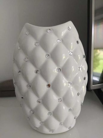 Nowy wazon biały z kryształkami GLamour