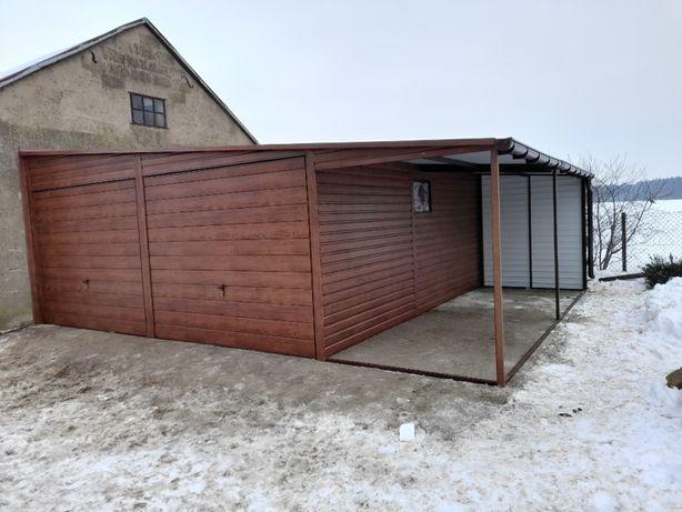 garaż blaszany, blaszak, wiata, drewnopodobny, 6x6 + 3m wiata