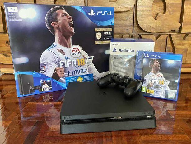 PlayStation 4 - 1TB CUH 2116B + 1 Comandos + 1 jogo