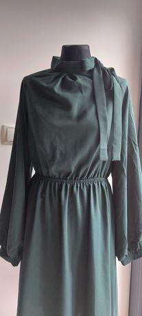 Sukienka  Shein M, 38, butelkowa zieleń,  elegancka, kokarda, bufki,