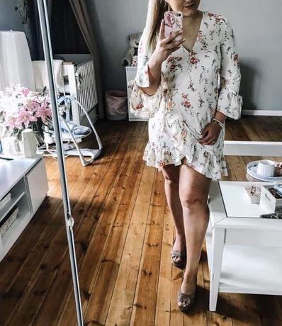 Piękna sukienka w kwiaty h&m wiązana lato