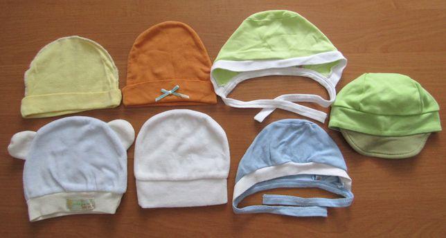шапочки для малыша 7шт. чепчик для новорожденного. Шапочки для куклы.
