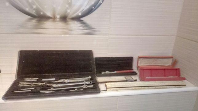 Готовальня, чертежные инструменты, логарифмические линейки, лот СССР