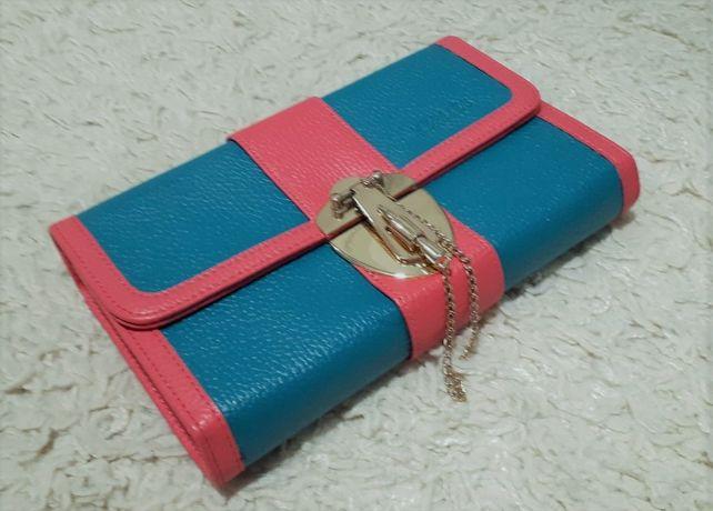 Śliczna turkusowo - różowa torebka kopertówka