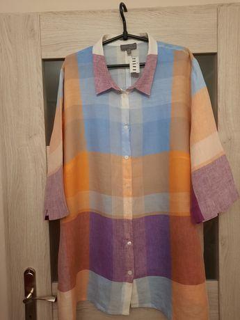 Ulla Popken Selection piękna tunika koszulowa 100% len 54 56
