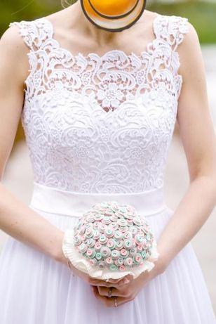 Suknia ślubna, muślin, A, 38