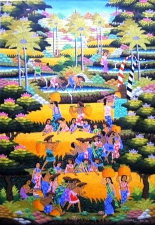 obraz zbiory ryżu egzotyczne tarasy ryżowe pejzaż Soki Sinteg z Bali
