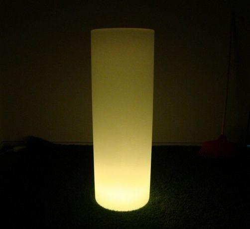 Donica LED Walec 25x71 Biała Ledowa + PILOT