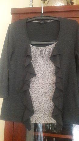 Bluzka,sweterek szary z żabotem wstawka materiał L-XL