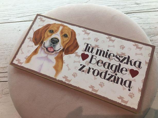 Tabliczka drewniana pamiatkowa beagle