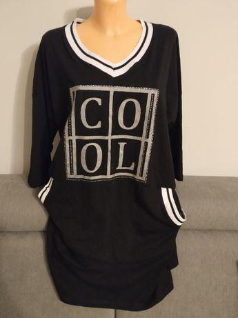 Tunika czarna bawełniana sukienka oversize