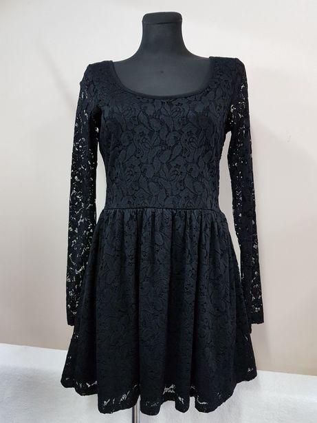 H&M r.38 sukienka wizytowa czarna koronka