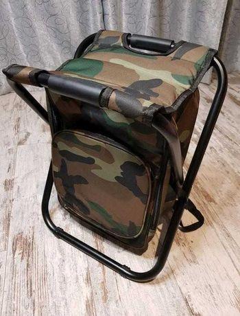 Стул с Рюкзаком-термосумкой Раскладной Зеленый Камуфляж Синий Черный