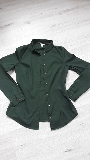 Koszula ESPRIT damska( butelkowa zieleń,rozmiar 34)