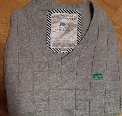 MOODS OF NORWAY M męski sweter w serek bawełna