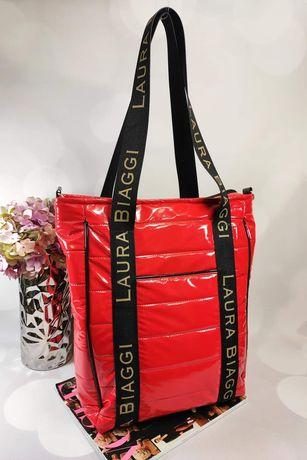 Czerwona torba shopper bag XXL Laura BIAGGi