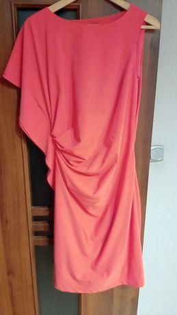 Koralowa sukienka na wesele, koktajlowa 40, L
