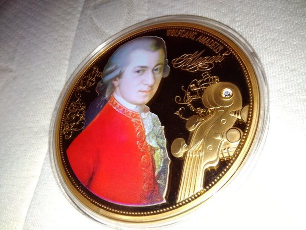"""Moneta Jumbo tłoczone """"WA Mozart"""", średnica 100 mm, edycja 1756 sztuk"""