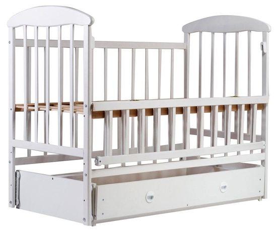 Детская кроватка кровать Наталка маятник ящик белая в наличии