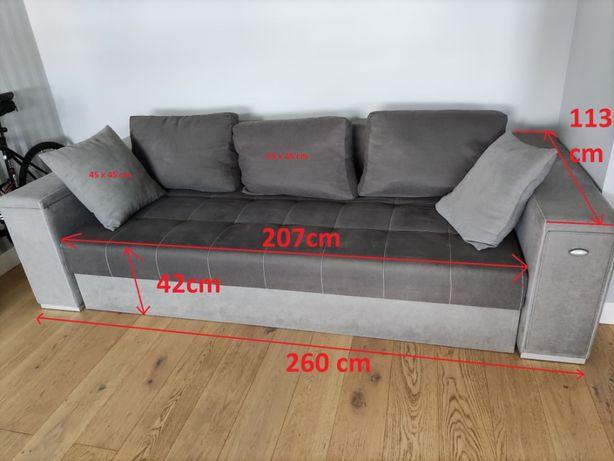 Sofa rozkładana pikowana duża + 5 poduszek