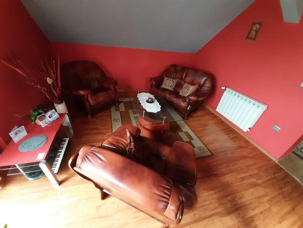 Meble skórzane sofa 2 fotele stan  idealny