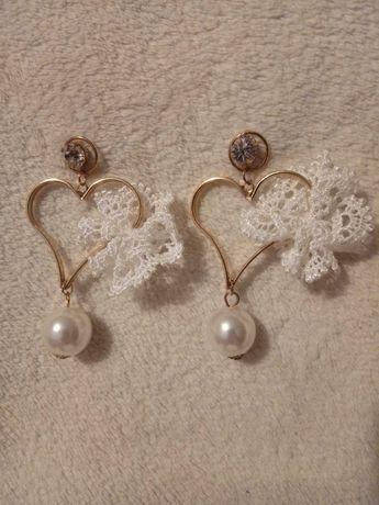 Nowe kolczyki serca perełki prezent Dzień Kobiet