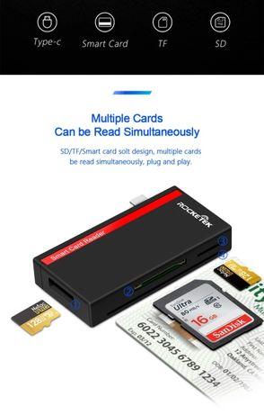 Leitor cartões identidade CC memória sdcard type-c