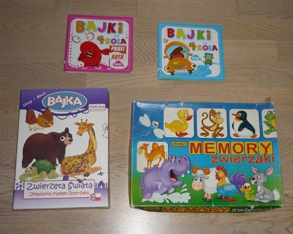 Gra Układanka Zwierzęta Świata + Memory Adamigo Zwierzaki + Książki