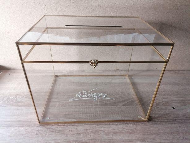Pudełko szklane złote ślub na kartki koperty skarbona skrzynka pudło