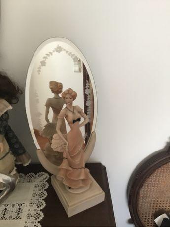 Espelho Art Deco com boneca em ceramica