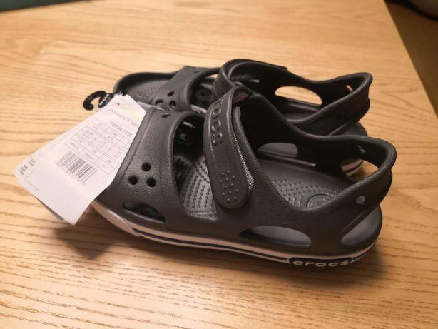 REZERWACJA sandały Crocs crocband II, nowe,szare, r. C13,30-31