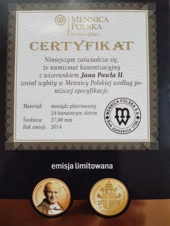 Moneta Numizmat kanonizacyjny Jan Paweł II platerowany 24k złotem 2014