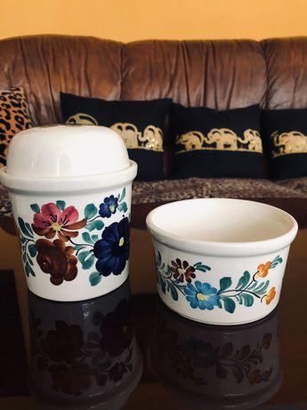 Pojemnik na herbatę i miseczka PRL ręcznie malowane