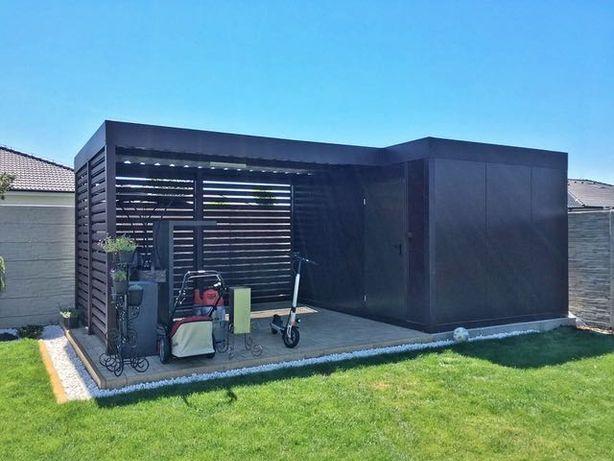Wiata garażowa z pomieszczeniem gospodarczym, garaż zadaszenie carport