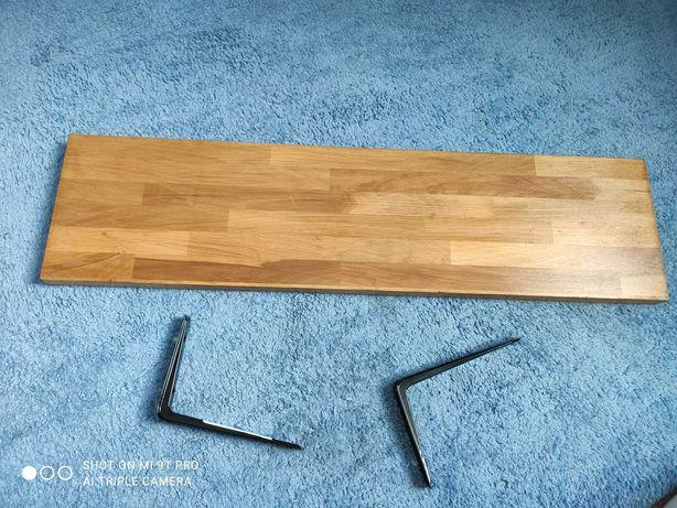 Półka drewniana 80x20 dąb craft złoty