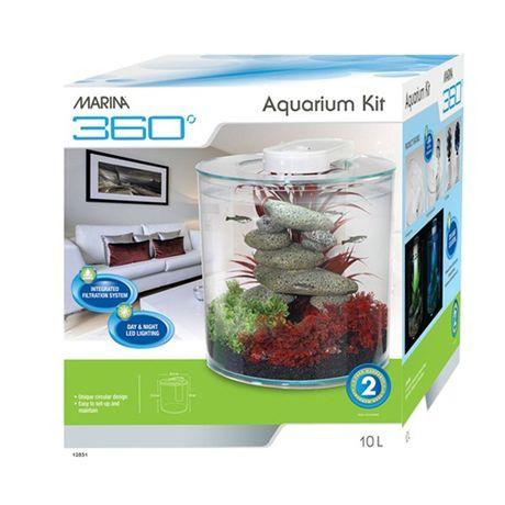 Akwarium 10l MARINA 360 wraz z oświetleniem LED