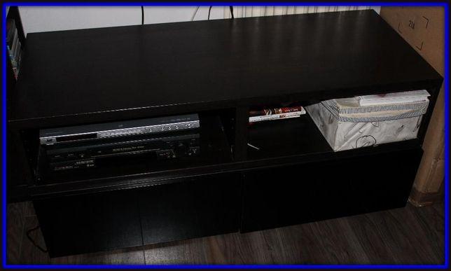 Ikea Besta Czarna lakierowana szafka pod telewizor 2 półki+2 szuflady.