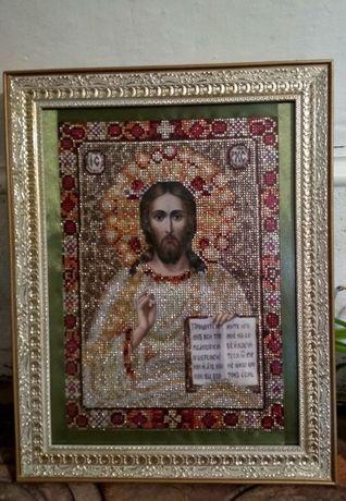 Икона Спасителя Иисуса Христа ручная работа, алмазная живопись