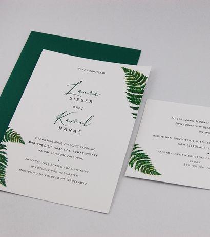 Zaproszenia ślubne greenery, rustykalny, paproć, zieleń